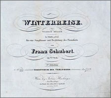 Winterreise, first edition, publisher Haslinger, Vienna, 1828, title page