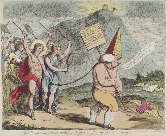 Apollo and the muses, inflicting penance on Dr Pomposo, by James Gillray, 1783