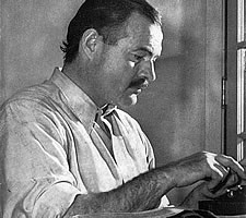 Ernest Hemingway, man at work.