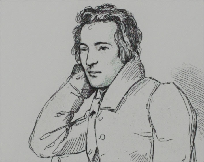 Heinrich Heine in an etching by Eduard Mandel (1810-1882) from a drawing by Franz Kugler (1808-1858), 1829