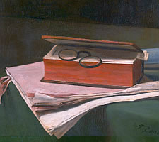 Francois Bonvin, Still Life with Book, Papers and Inkwell, 1876 (detail)