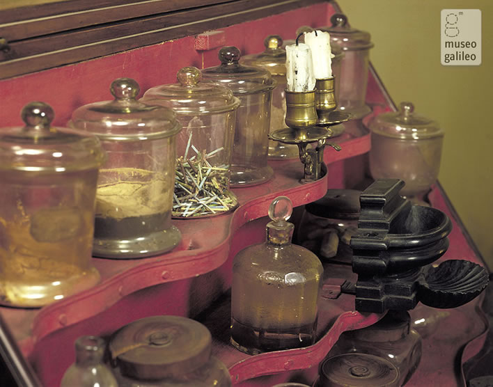 Some of the contents of Archduke Peter Leopold's chemistry cabinet.