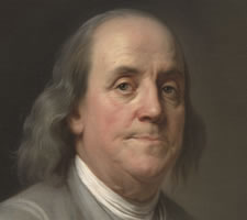Benjamin Franklin (1706-1790) [detail] by Joseph Duplessis (1725–1802), c. 1785