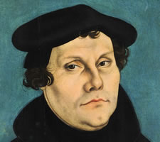 Martin Luther (1483-1546) by Lucas Cranach the Elder (1472–1553), 1528. Image: Veste Coburg