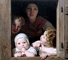 Ferdinand Georg Waldmüller, Young Peasant Woman with Three Children at the Window, 1840