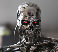 -Morning, Mr Patel. -Morning, T-800. -A packet of Marlboros and a tube of Polos, please. -Haven't seen you around for a bit, T-800. -Had to get my knees fixed. -Not the shagpile rug again? -Yes, I must be a bit of a slow learner.