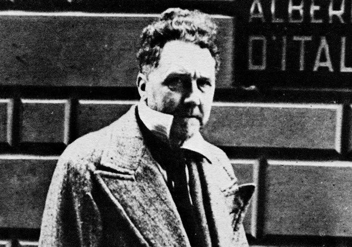 Ezra Pound the radio broadcaster in front of his hotel in Rome in 1942