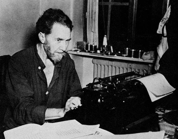 Ezra Pound using the typewriter in the Medical Center in the US Army Disciplinary Training Center in Pisa, 1945.