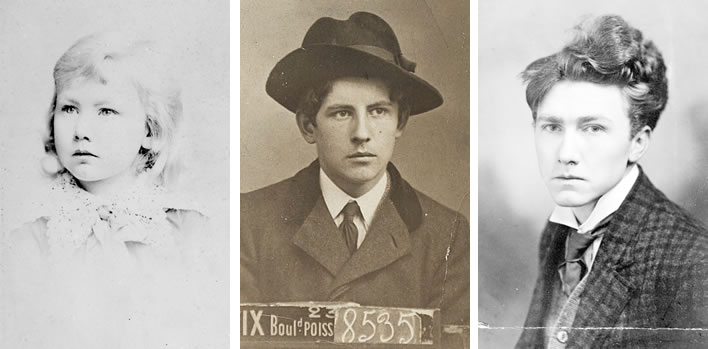 Ezra Pound growing up, 1890, 1904, 1909.
