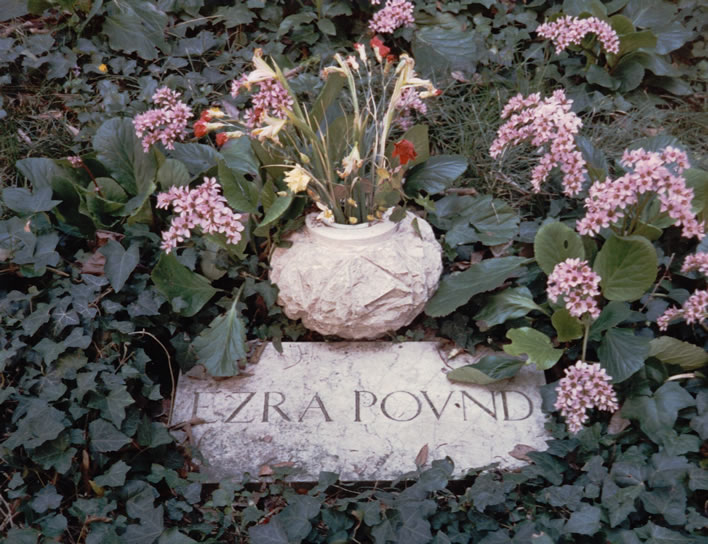 Ezra Pound's grave in the cemetary of Isola di San Michele in Venice.