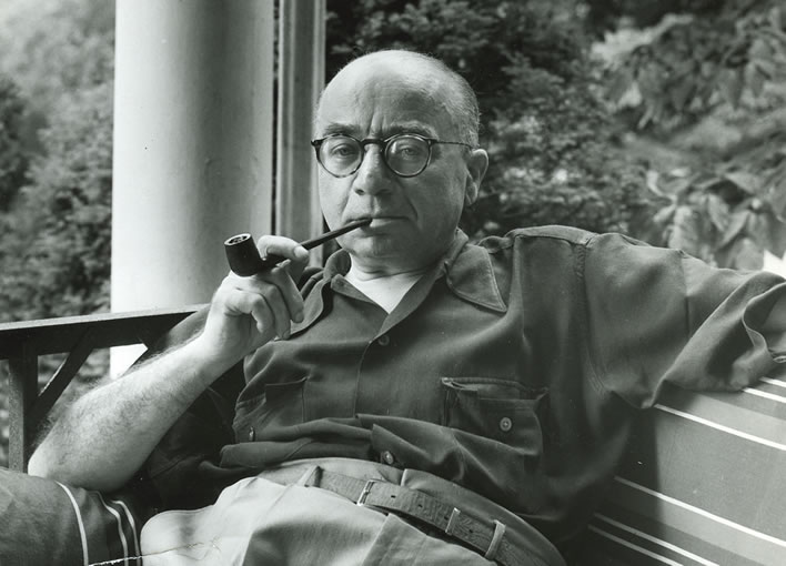 Arthur Szyk, c. 1946, on the porch of his home in New Canaan