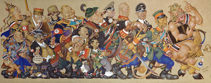 Arthur Szyk (1894-1951), 'Satan Leads the Ball'