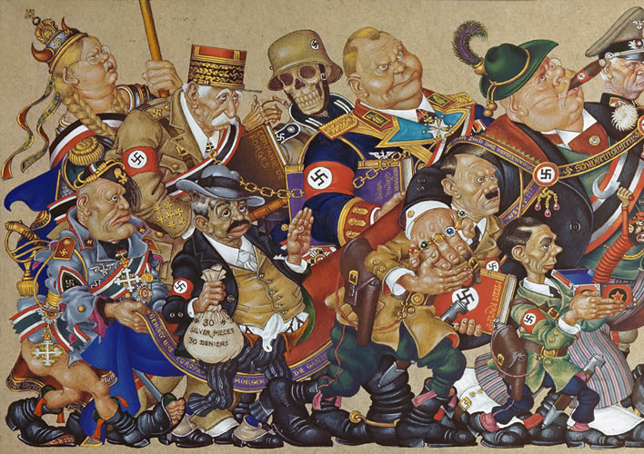 Arthur Szyk (1894-1951), 'Satan Leads the Ball', left half