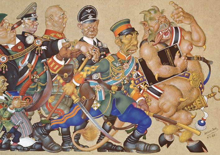 Arthur Szyk (1894-1951), 'Satan Leads the Ball', right half