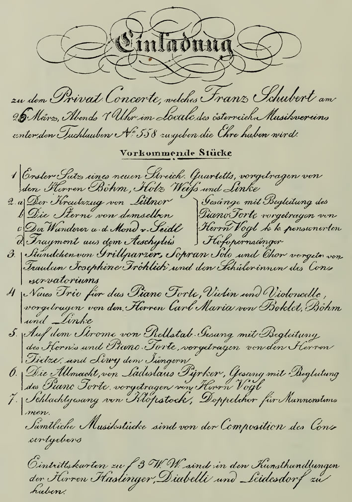 The programme for Schubert's one and only concert, 26 March 1828