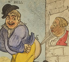 Richard Newton (1777-1798), 'Treason!!!', 1798, John Bull farts at a poster of King George III. A lurch by any other name would smell as sweet.