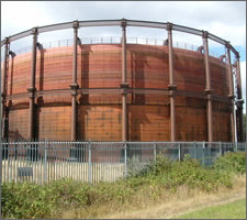 A gasometer: useful then, useful now. Image: ©Squiddy, Wikipedia