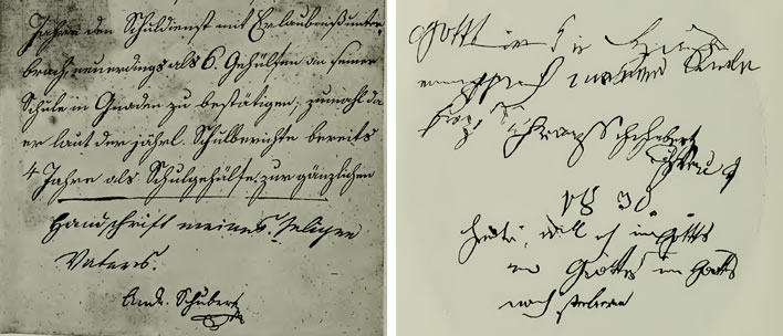 Two samples of Franz Theodor's handwriting, 1818 and 1830.