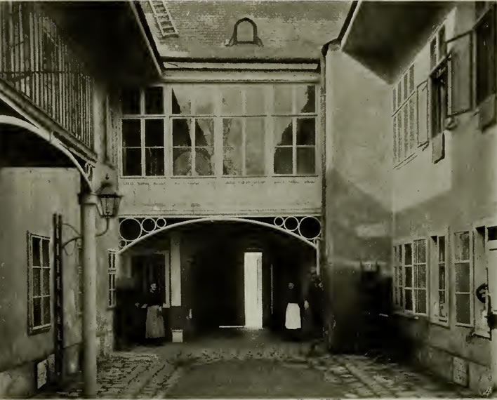 The courtyard in Schubert's birth house, 1897. Looking towards the street.