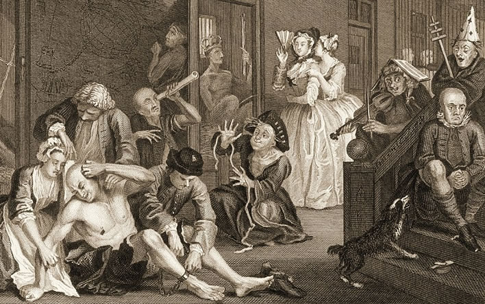 William Hogarth (1697-1764), 'A Rake's Progress: Scene in Bedlam', 1734