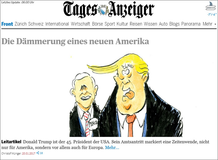 Zürich Tages-Anzeiger, screenshot front page 21.07.2017