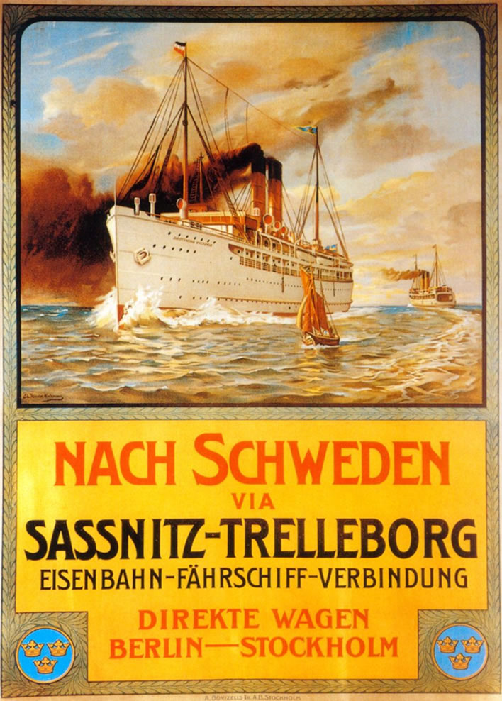A poster from 1909 advertising the Saßnitz-Trelleborg ferry.