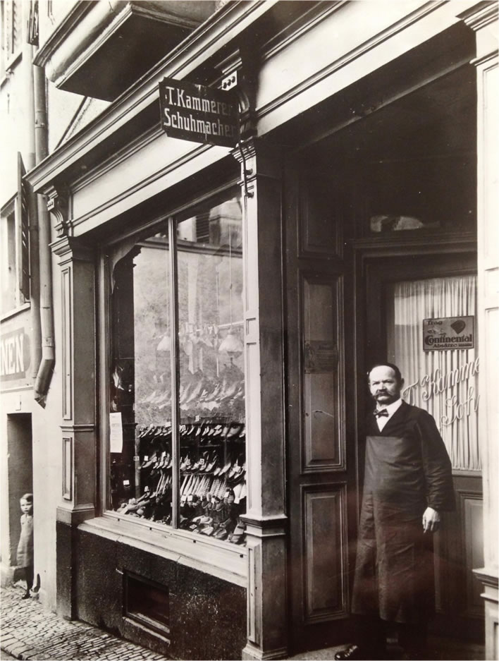 Titus Kammerer in front of his shop in an undated photograph.