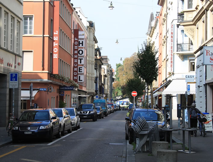 The modern Zähringerstrasse in Zurich