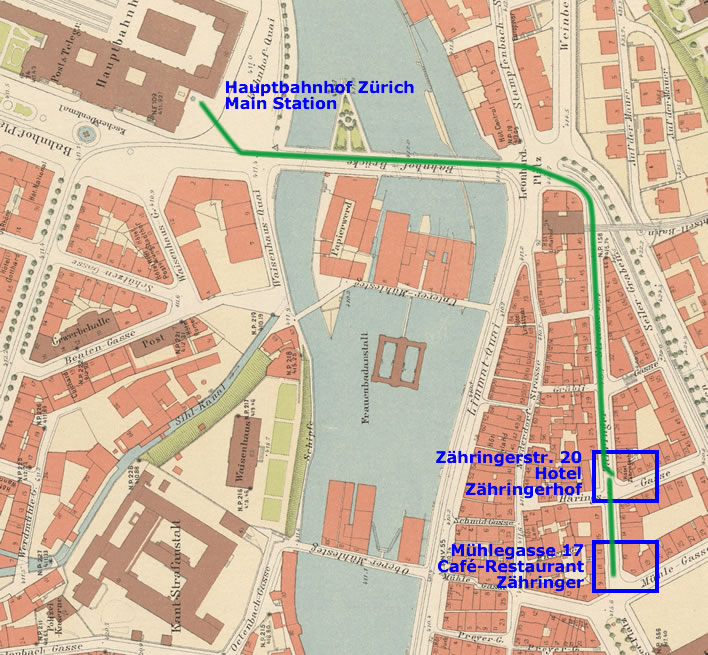 Map of the march to the station in Zurich.