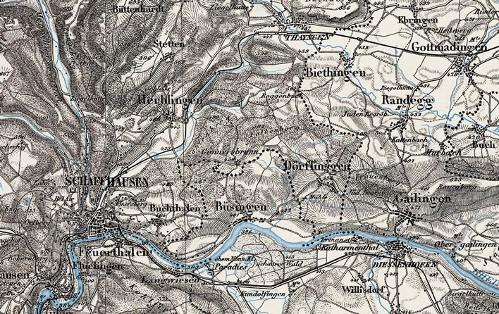 A map of the line Schaffhausen-Thayngen-Gottmadingen-[Singen] from 1904.