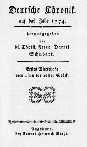 The first edition of Schubart's 'Deutsche Chronik', 1774.