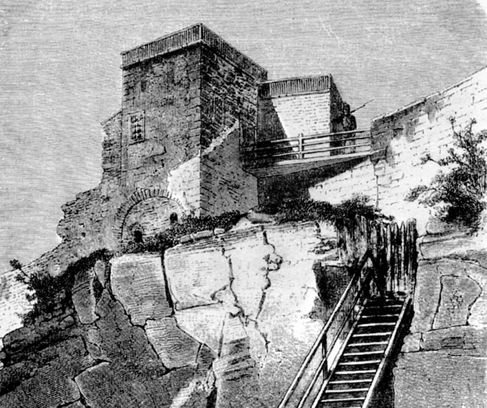 A drawing of the 'Schubart Tower' from inside the fortress, c. 1860.