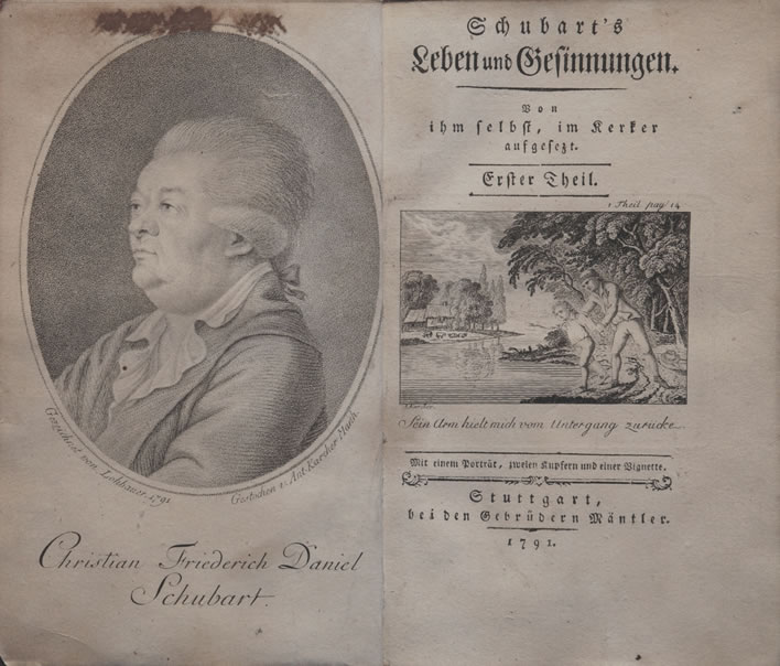 'Schubart's Leben und Gesinnungen', frontispiece and title page of part 1 of the first edition.