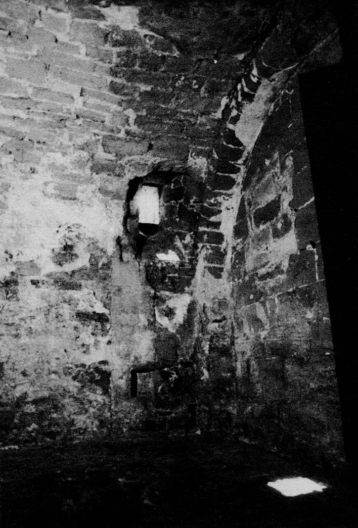 A photograph of the inside of what was probably Schubart's cell.