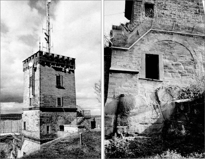 Two photos of the 'Schubart Tower' in modern times.