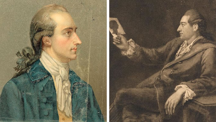 Left: Goethe in 1778. Right: Goethe with a silhouette, 1775-76