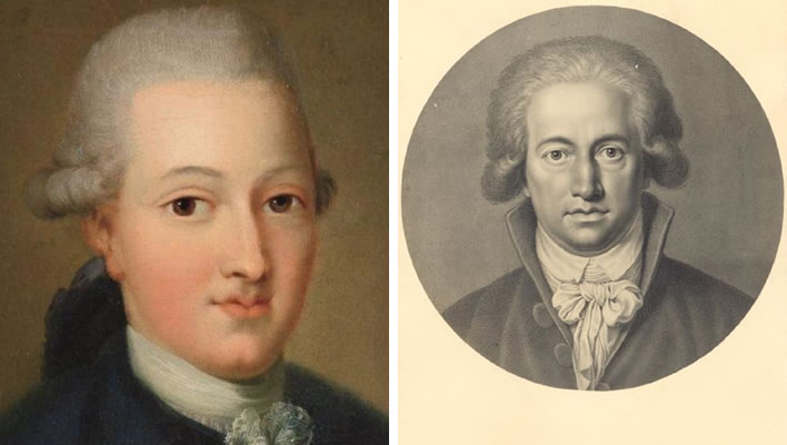 Left: presumed to be the 16-year-old Goethe. Right: Goethe by Johann Heinrich Lips 1791