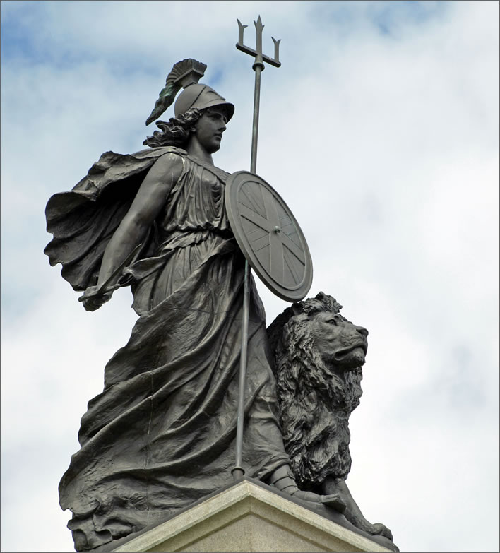 William Charles May, statue of Britannia on the Armada Memorial, Plymouth Hoe, 1888.