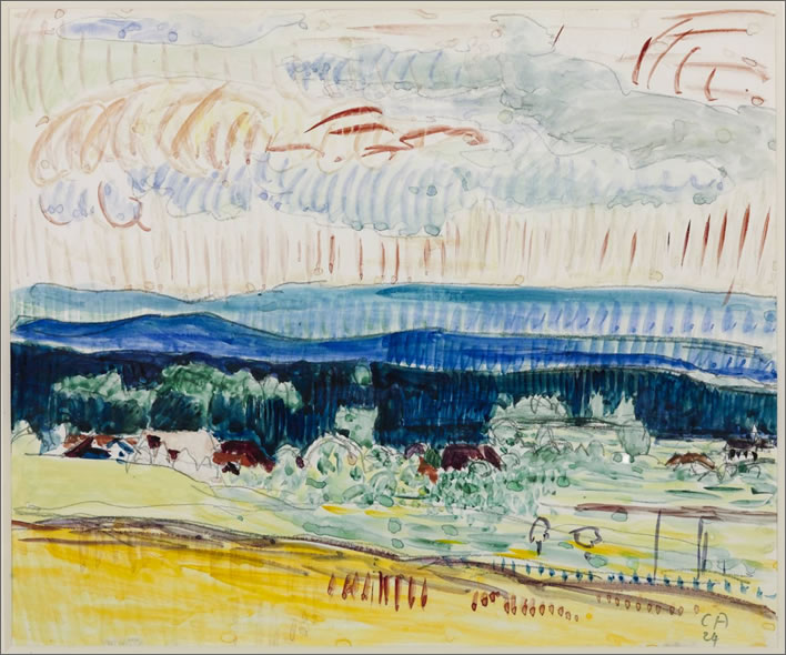 Cuno Amiet, Landscape with the Jura Mountains, 1924