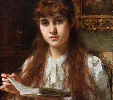 Alexei Harlamoff, Girl Reading, ND (detail)