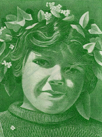 Pierre Gauchat Swiss series 5 banknote designs: 50fr Apple Harvest (detail) A293.306_recto_1_350x470