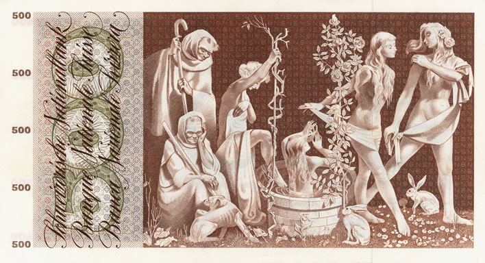 Pierre Gauchat Swiss series 5 banknote designs: 500fr Fount of Youth B295.303_verso_708x384