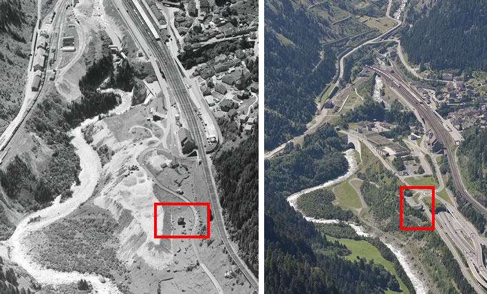 Aerial views of the Teufelsstein in 1963 and 2007.