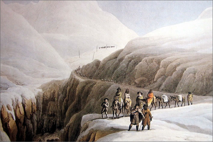 A group of travellers on the Gotthard route in winter, late 18th century