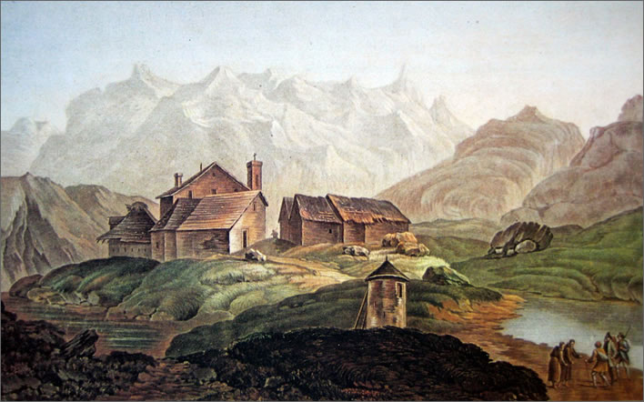 Illustration of the Gotthard Pass summit from 1785