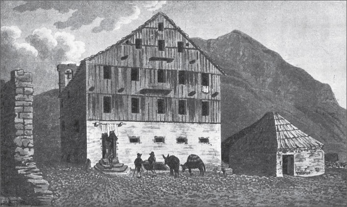 Gotthard Pass summit: the Hospice and the stable block from 1790.