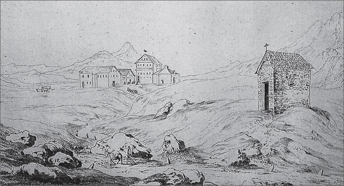 The Gotthard Pass summit. In the foreground is the Mortuary Chapel. Image: Sketch by C. Wyss, 2nd half of the 18th century