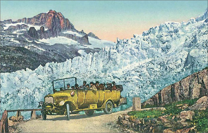 A Postauto on the Furka Pass between Brig (in Wallis) and Realp (in the Urserental), c.1921