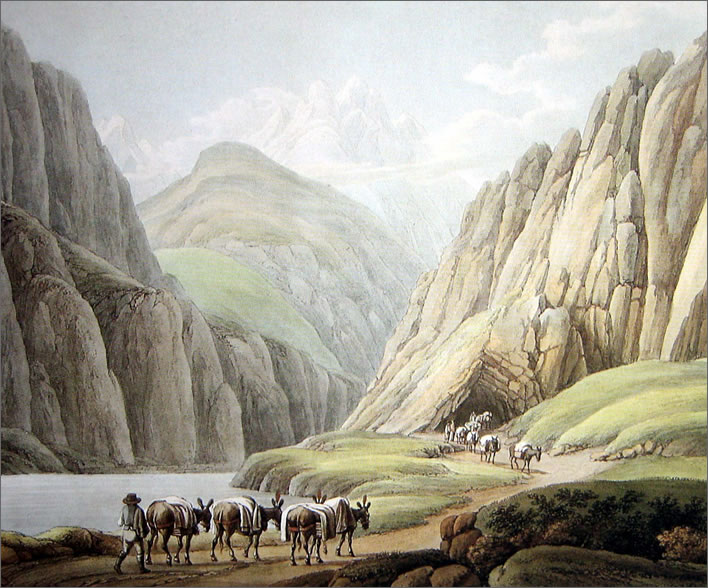 Pack transports at the southern end of the Urnerloch in 1790.