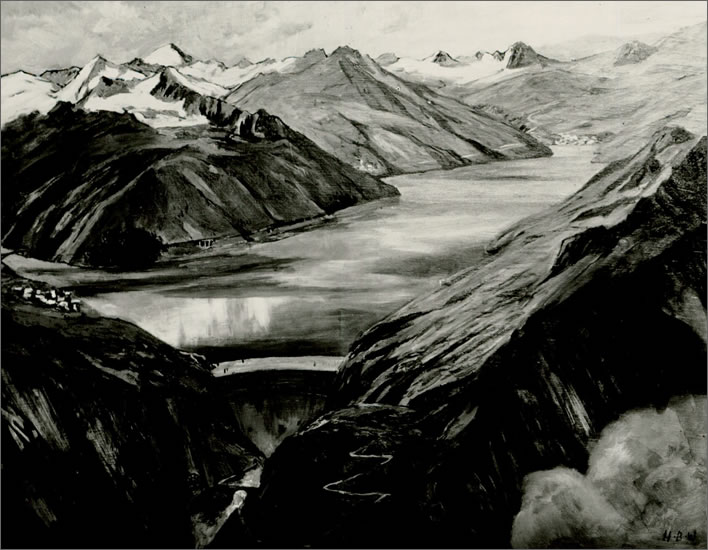 Artist's impressions from 1941 of the Urserental lake